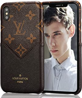 Mulafnxal Case for iPhone X/Xs 5.8 inch[Genuine Leather Shockproof Ultra Thin Cover][Luxury Back Card Holder Design Cases for iPhoneX ][Support Wireless Charging]-V Card