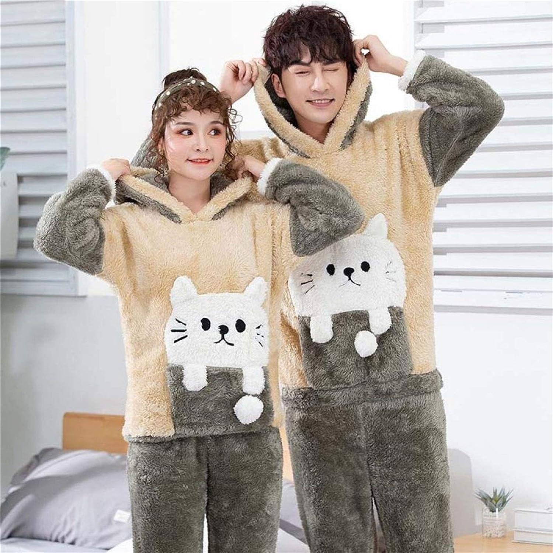 Bayue Unisex Adult Couple Pajamas Winter Warm Thickening Pajamas Set Cute Cartoon Home Clothes Hooded Sleepwear Female Pijamas Zhaozb (Color : Cat, Size : Men L)