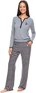 U.S. Polo Assn. Womens Casual Long Sleeve Shirt and Pajama Pants Sleep Sleepwear Set