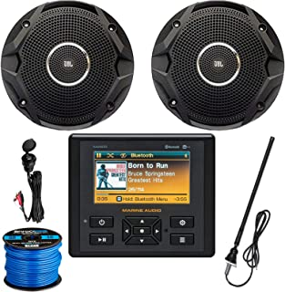 Marine Audio AM/FM USB Bluetooth Waterproof Stereo, 2 x 6.5 Dual Cone Black Stereo Speakers, Enrock Universal Auxiliary Interface Mount, Long Range Radio Antenna, Speaker Wire