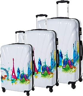 حقيبة سفر بعجلات، بحواف صلبة ايه بي اس وطباعة، مجموعة من 3 قطع، متعددة الالوان، من ترافل فيجن