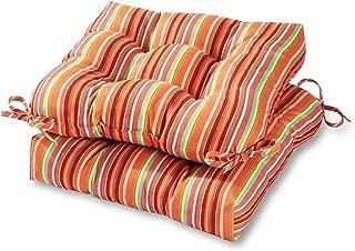 Greendale Home Fashions 20-inch Outdoor Chair Cushion in Coastal Stripe (set of 2), Watermelon