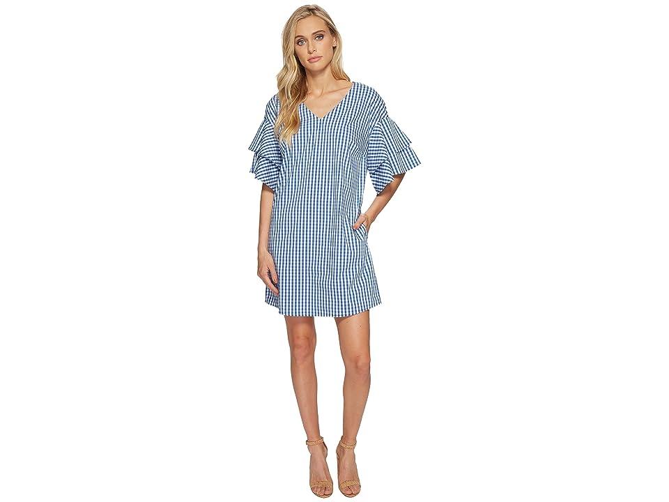kensie Gingham Check Dress KS4K995S (Marine Combo) Women
