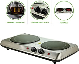 Ovente Electric Glass Infrared Burner 7 Inch Double Hot Plate with Temperature Control,..