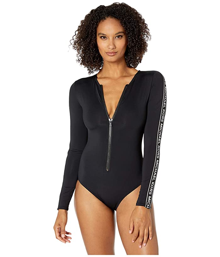 MICHAEL Michael Kors Long Sleeve Zip-Up Rashguard Swimsuit (Black) Women
