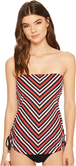 True Tommy Stripe Side Cinched Bandeau Tankini Top