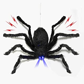 Prextex Animated Dropping Huge Black Hairy Spider/Tarantula with LED Eyes for Halloween Haunt Décor Best Halloween Decoration