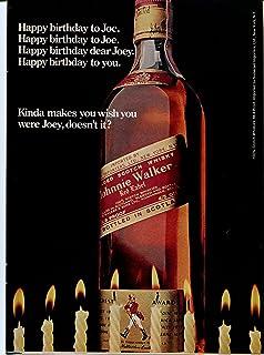 1974 Johnnie Walker Scotch Joe Birthday Retro Original Ad