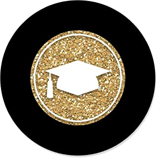 Big Dot of Happiness Gold Tassel Worth The Hassle - Graduation Party Circle Stickers - 24 Count