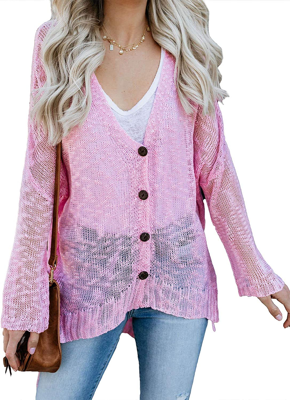 Dokotoo Women Summer Beach Button Down Sheer Knit Cardigans Cover Up Blouses Tops Lightweight Sweater Coat