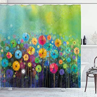 Ambesonne Flower Shower Curtain, Dandelions Featured in Garden with Brushstrokes Watercolored Abstract Landscape Art, Cloth Fabric Bathroom Decor Set with Hooks, 75