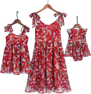 7c9855057816c PopReal Mommy and Me Floral Printed Shoulder-Straps Bowknot Halter Chiffon  Beach Mini Sundress