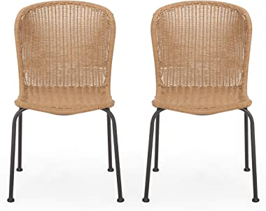 Christopher Knight Home 311696 Dinah Outdoor Wicker Dining Chair (Set of 2), Light Brown, Black