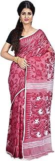 SareesofBengal Women's CottonSilk Handloom Jamdani Dhakai Saree Wine Red