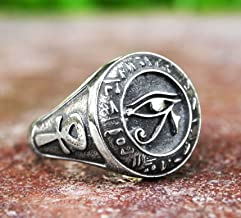 Egyptian Sterling Silver Eye Of Horus With Ankh Ring - Eye of Ra Udjat Egyptian Horus Ring
