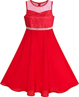 Sunny Fashion Vestidos Meninas Rhinestone Chiffon Dama de honra Dança Bola Maxi Vestido 6-14 anos