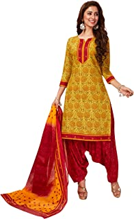 Jevi Prints Women's Cotton Printed Straight Stitched Salwar Suit Set (SUIT_SP-4642_Gold & Red)