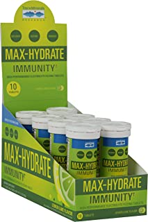 Max-Hydrate Immunity Effervescent Tablets, Non GMO, Lemon Lime. Trace Minerals. 8 Tubes of 10 Tablets. Vitamin C, Electrolyte, Hydration, Support, Magnesium, Calcium, Sodium, Potassium, Minerals.