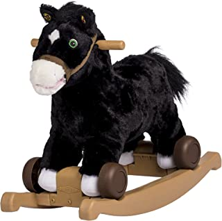 Rockin' Rider Cocoa 2-in-1 Pony Plush Ride-On, Black