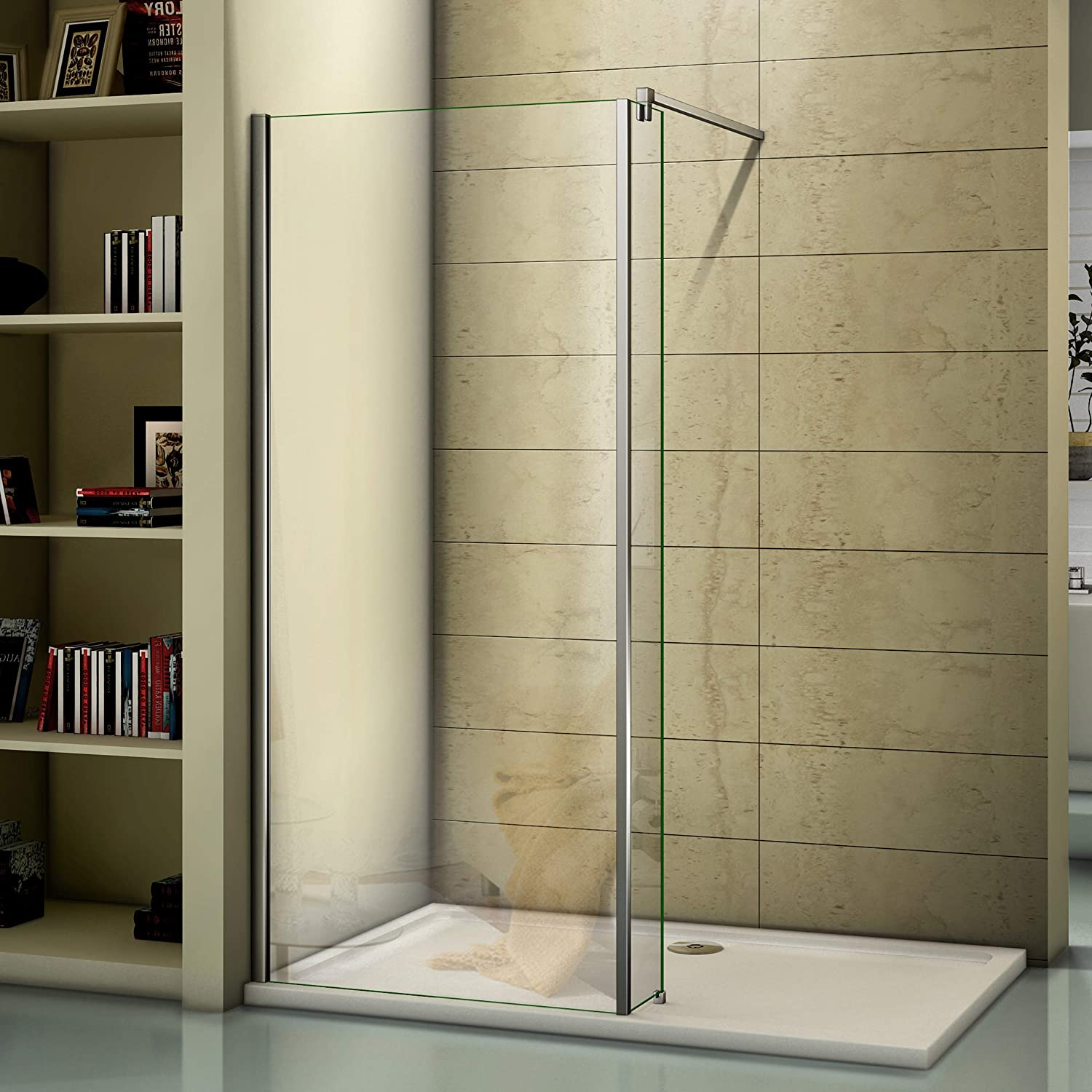 800mm Walkin Screen Glass Wet Room Screen Shower Enclosure with 250mm Fixed Return Panel