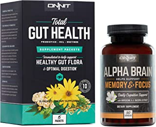 ONNIT Alpha Brain - Over 1 Million Bottles Sold - Nootropic Brain Booster Supplement - Promotes Focus, Concentration & Memory - Alpha GPC, L Theanine, Bacopa Monnieri & Huperzia Serrata (Brain + Gut)