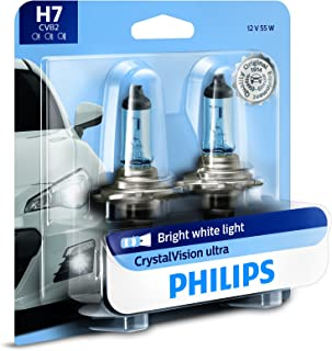 Philips H7 CrystalVision Ultra Upgrade Bright White Headlight Bulb, 2 Pack