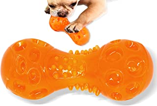 Dog Toys Squeaky Dumbbell Chew Toy for Chewers, TPR material bring irregular bouncing