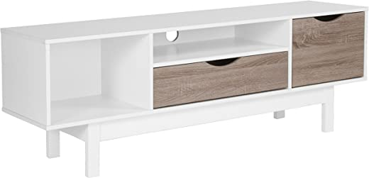 TV & Media Furniture ✅Flash Furniture St. Claire Collection TV Stand in White Finish with Oak Wood Grain Drawers