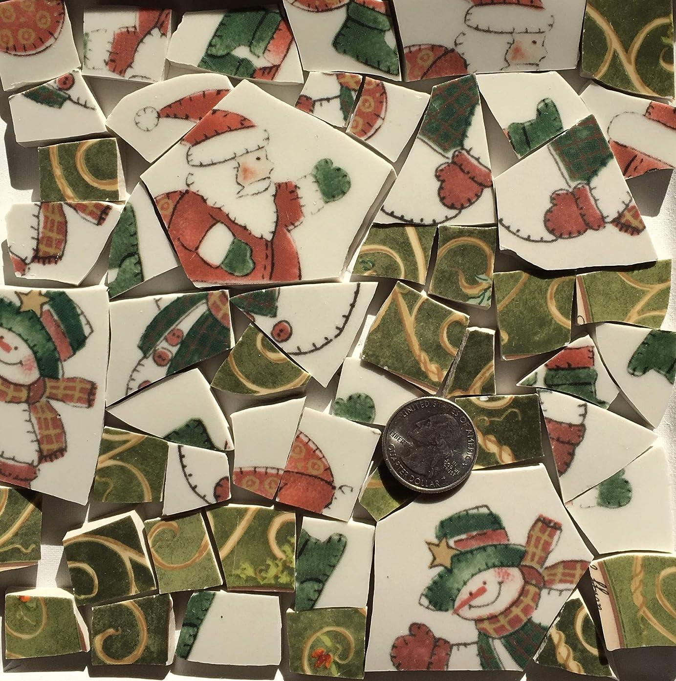 Mosaic Art & Crafts Supply ~ Green & Rust Orange Christmas Holiday Tiles (B293)
