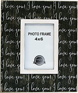 I Love You Black White 9.25 x 11 Inch Wood Easel Back Wall Plaque Photo Frame
