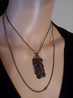 Egyptian Coil Copper Pendant Necklace Oxidized by LGBStyles Jewelry