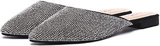 CINAK Women Backless Mule Shoes-Flat Comfort Pointed Toe Glitter Slip On Slippers