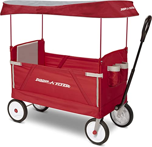 Radio Flyer 3-In-1 EZ Folding, Outdoor Collapsible Wagon for Kids & Cargo, Red