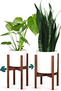 "FOX & FERN Mid-Century Modern Plant Stand - Adjustable Width 8"" up to 12"" - Solid Walnut - Excluding White Ceramic Planter Pot"