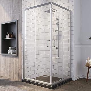 SUNNY SHOWER Corner Shower Enclosure 1/4 in. Clear Glass Sliding Shower Doors, Framed Shower Enclosure 36 in. X 36 in. X 7...