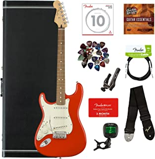 Fender Player Stratocaster, Pau Ferro, Left Handed - Sonic Red Bundle with Hard Case, Cable, Tuner, Strap, Strings, Picks, Capo, Fender Play Online Lessons, and Austin Bazaar Instructional DVD