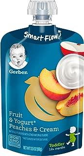 GERBER Purees Peaches & Cream Yogurt Toddler Pouch (Pack of 12)