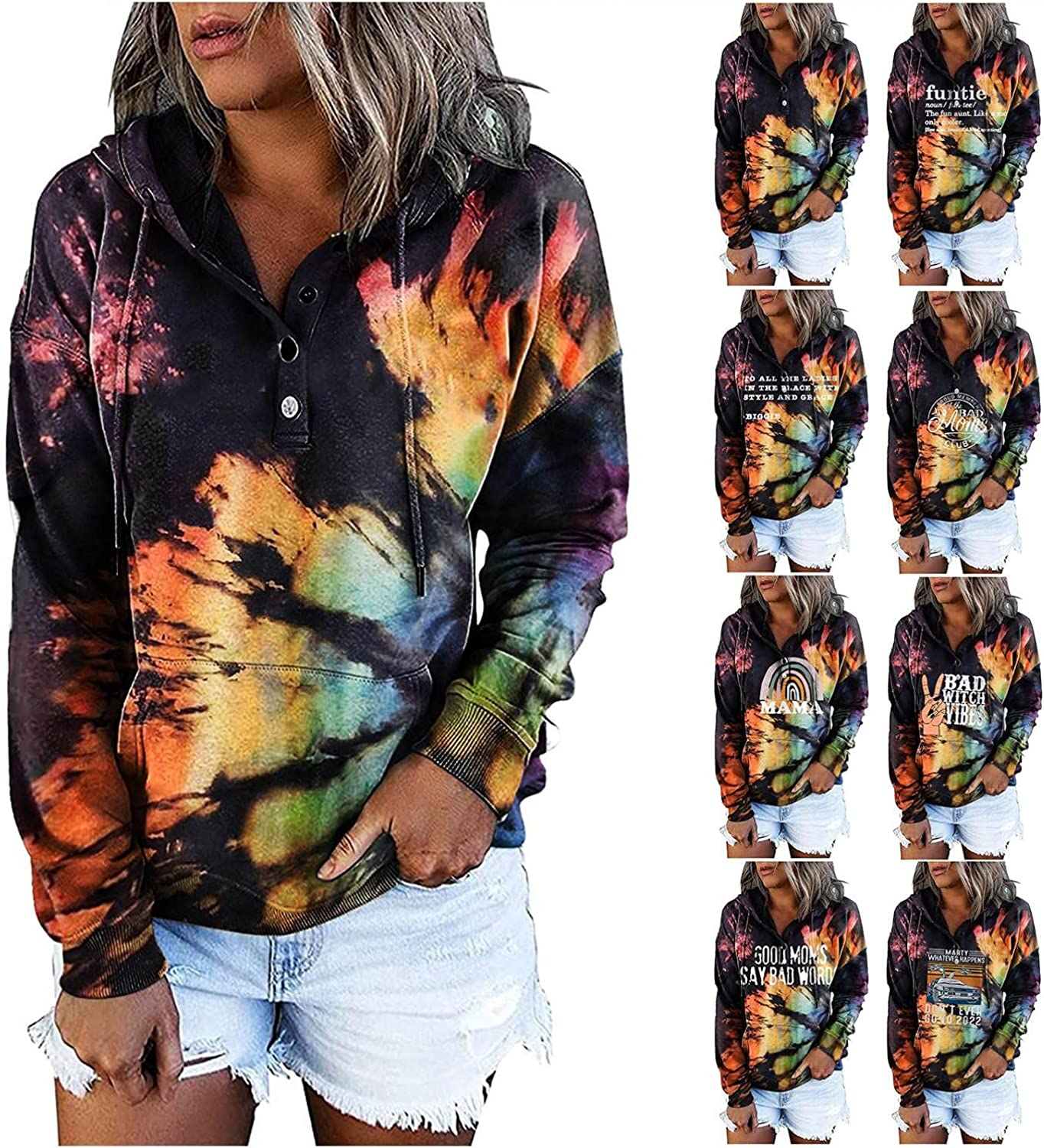 AODONG Hoodies for Womens Fashion Crewneck Tie Dye Hooded Sweatshirts Long Sleeves Loose Pullover Tops