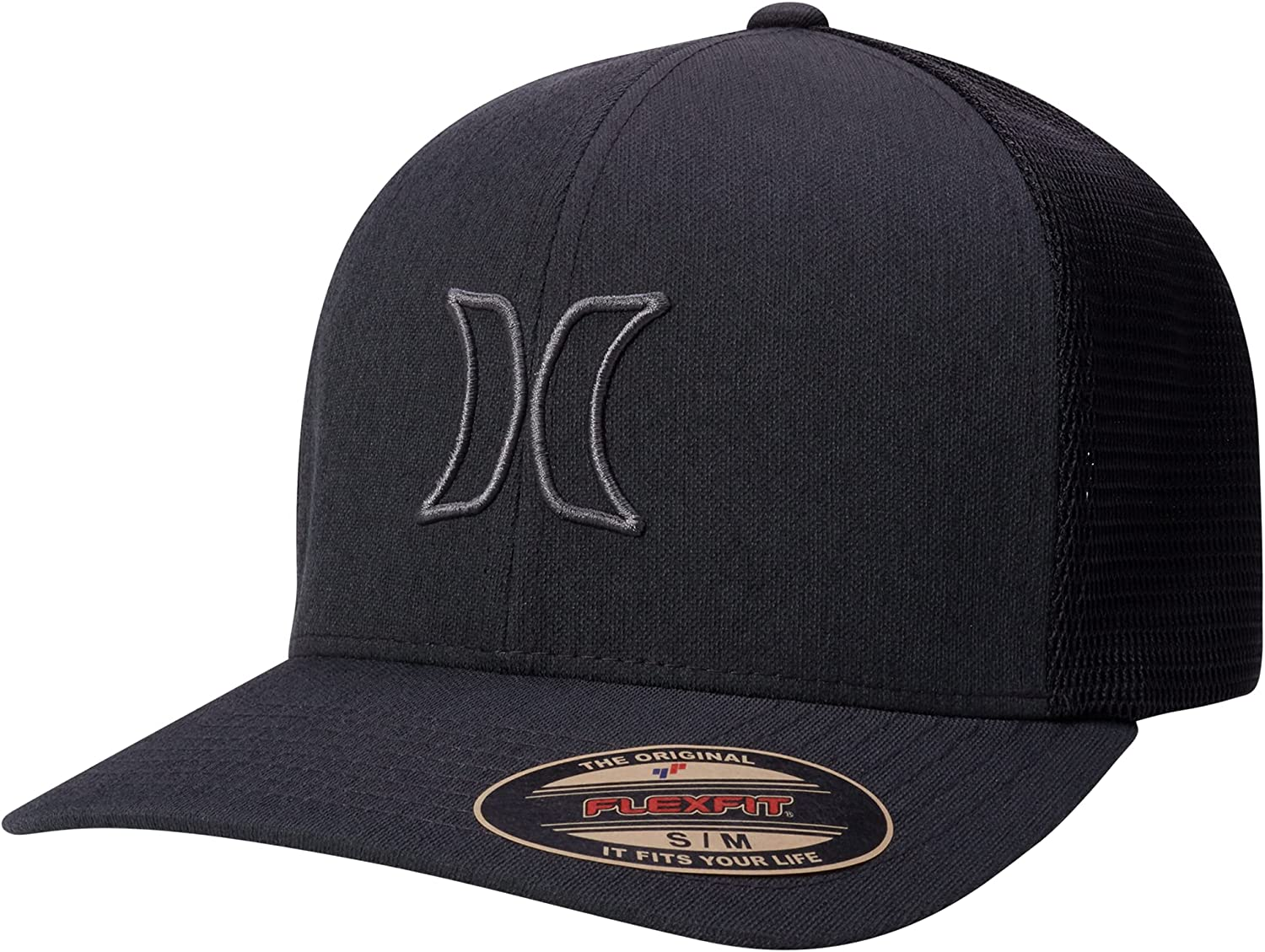 Hurley Men's Baseball Cap - Port Icon Curved Brim Fitted Trucker Hat: Clothing