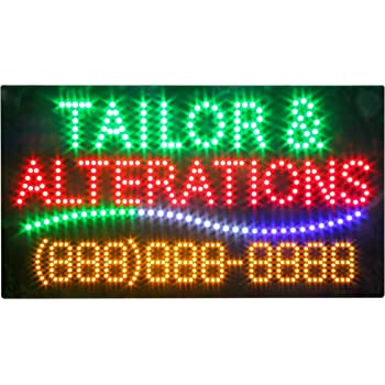 LED Tailoring Alterations Sewing Open Light Sign Board Super Bright Electric Advertising Display Banner for Boutique Business Retail Shop Store Window 31 x 17 inches