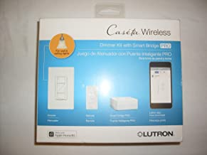 Lutron P-BDGPRO-PKG1W Wireless Dimmer Pro Kit With Smart Bridge 120 Volt White Caseta