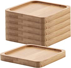 T4U 3.75 Inch Square Bamboo Tray Sandy Beige Set of 6