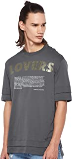 Armani Exchange Mens 3GZTLK T-Shirt, Multicolour (Lovers Print B & Rose 2453), 2X-Large