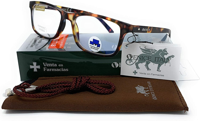 VENICE EYEWEAR OCCHIALI | Gafas ver de cerca, lectura con Filtro Luz Azul, Ordenador Gaming Móvil, Protección Antifatiga - Venice Coti Dioptría (1-1,50-2 - 2,50-3 - 3,50) (Bicolor, Graduación +1,00)