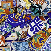 10 Pounds of Broken Talavera Mexican Ceramic Tile in Mixed Decorative Designs