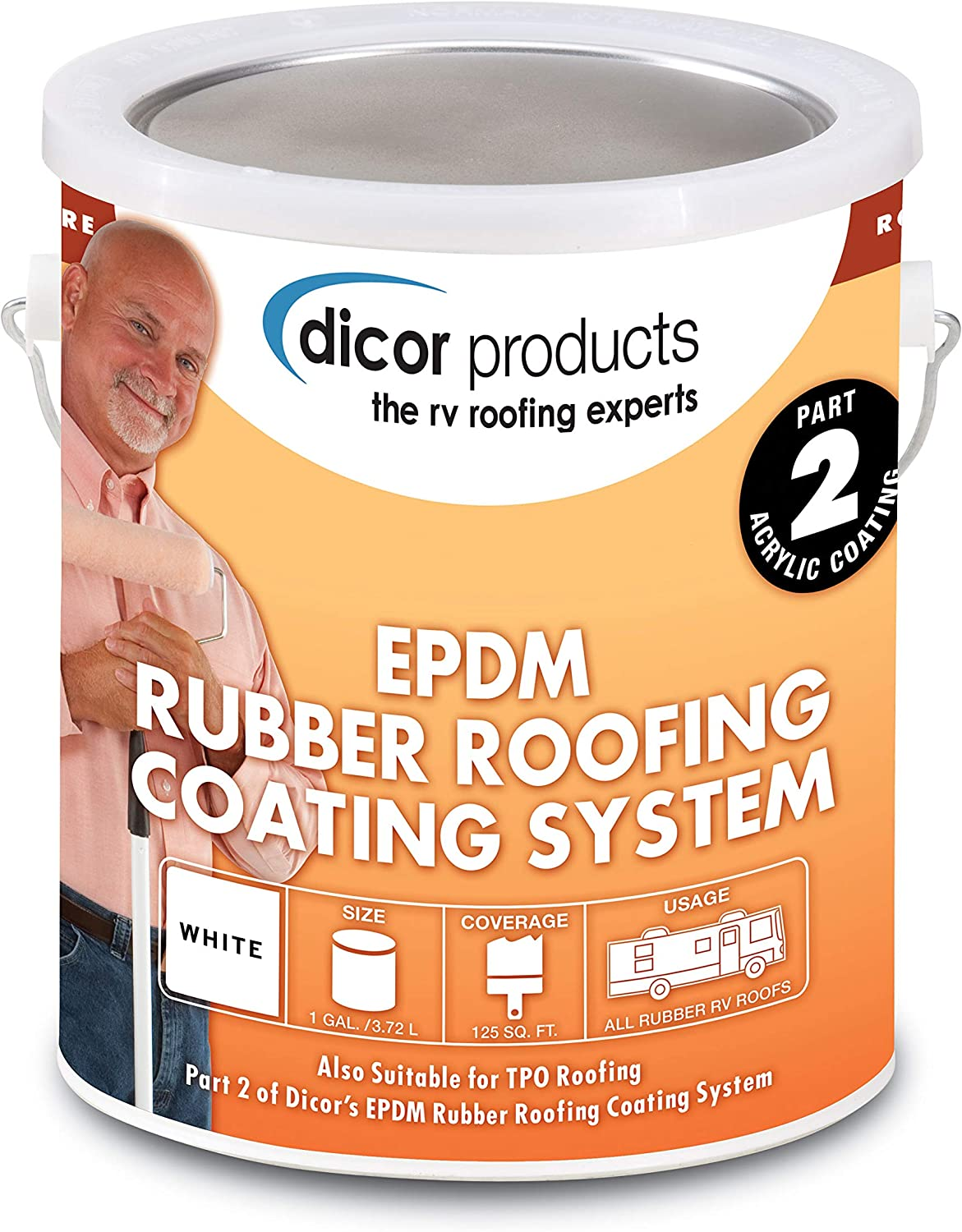 Dicor RPCRC1 White Jacksonville Mall EPDM Rubber Gallon 1 - Roof Coating Max 43% OFF