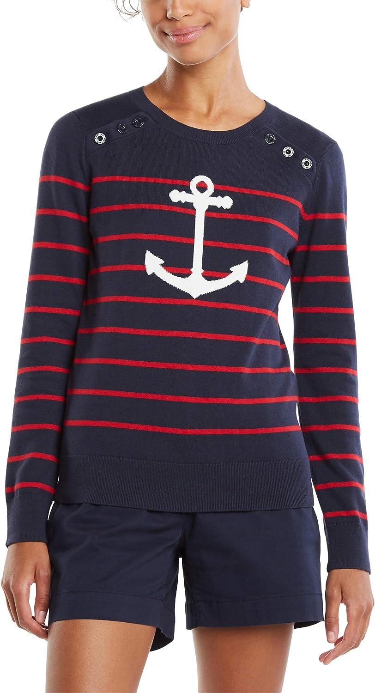 Nautica Women's Voyage Long Sleeve100% Cotton Striped Crewneck Sweater
