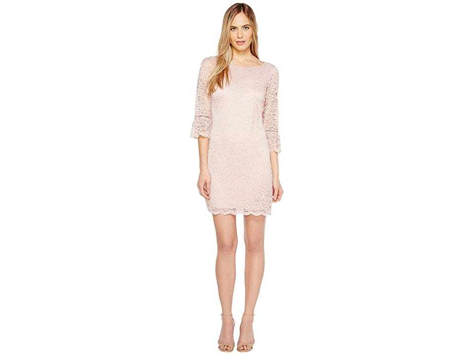 Laundry by Shelli Segal Lace Dress with 3/4 Sleeve (Tinted Blush) Women