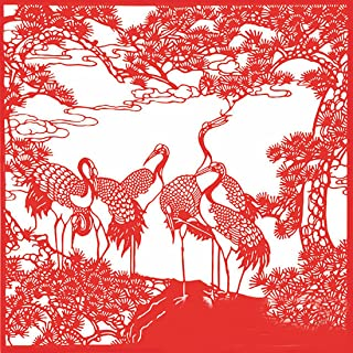 SellerWay ArtPaper Chinese New Year Gifts Handmade Paper-Cut Festival Ornaments,Jian Zhi, Red - Longevity Crane/28cm 28cm