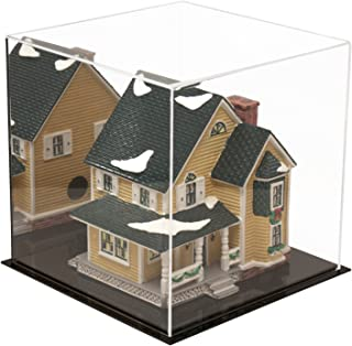 Better Display Cases Versatile Acrylic Display Case with Mirror - Medium Square Box with Black Base 9.75